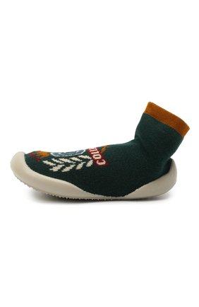 Детского домашние туфли COLLEGIEN зеленого цвета, арт. 551C/18-35 | Фото 2 (Материал внутренний: Текстиль; Материал внешний: Текстиль; Кросс-КТ: носочки)