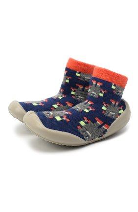 Детского домашние туфли COLLEGIEN синего цвета, арт. 553D/18-35 | Фото 1 (Материал внешний: Текстиль; Материал внутренний: Текстиль; Кросс-КТ: носочки)