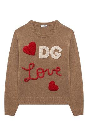 Детский шерстяной пуловер DOLCE & GABBANA темно-коричневого цвета, арт. L5KWA5/JAM9Y/8-14 | Фото 1