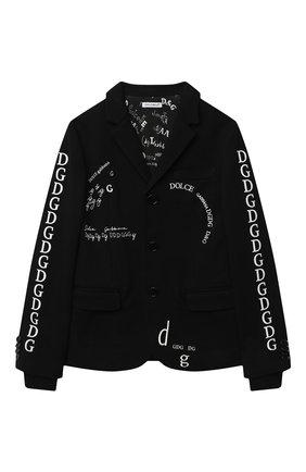 Детский хлопковый пиджак DOLCE & GABBANA черного цвета, арт. L4JE25/G7XCJ/8-14 | Фото 1