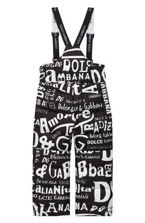 Детские утепленные брюки DOLCE & GABBANA черно-белого цвета, арт. L4JPZ8/FSSES/8-14   Фото 2
