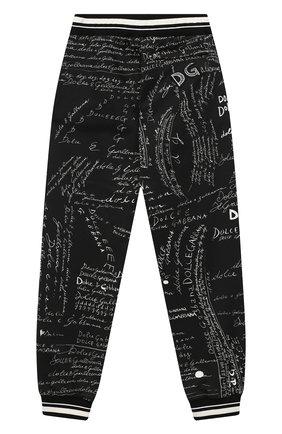 Детские хлопковые джоггеры DOLCE & GABBANA черно-белого цвета, арт. L4JPBQ/G7XBS/8-14 | Фото 2