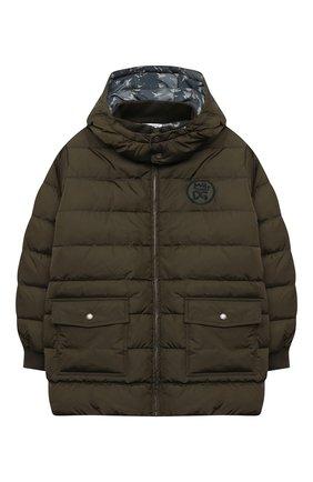Детский пуховая куртка DOLCE & GABBANA хаки цвета, арт. L4JB2B/G7XKN/8-14 | Фото 1
