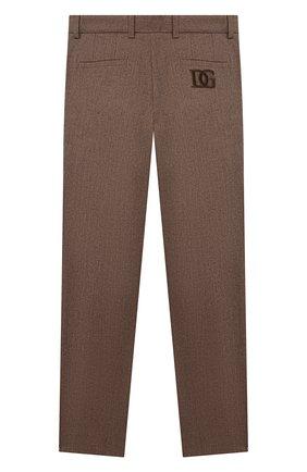 Детские хлопковые брюки DOLCE & GABBANA коричневого цвета, арт. L42P83/G7XLF/2-6   Фото 2