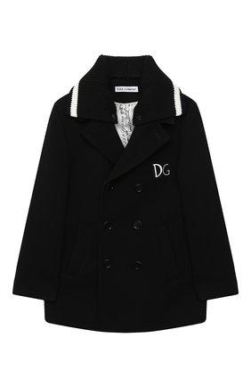 Детское шерстяное пальто DOLCE & GABBANA черного цвета, арт. L41C93/G7XID/8-14 | Фото 1
