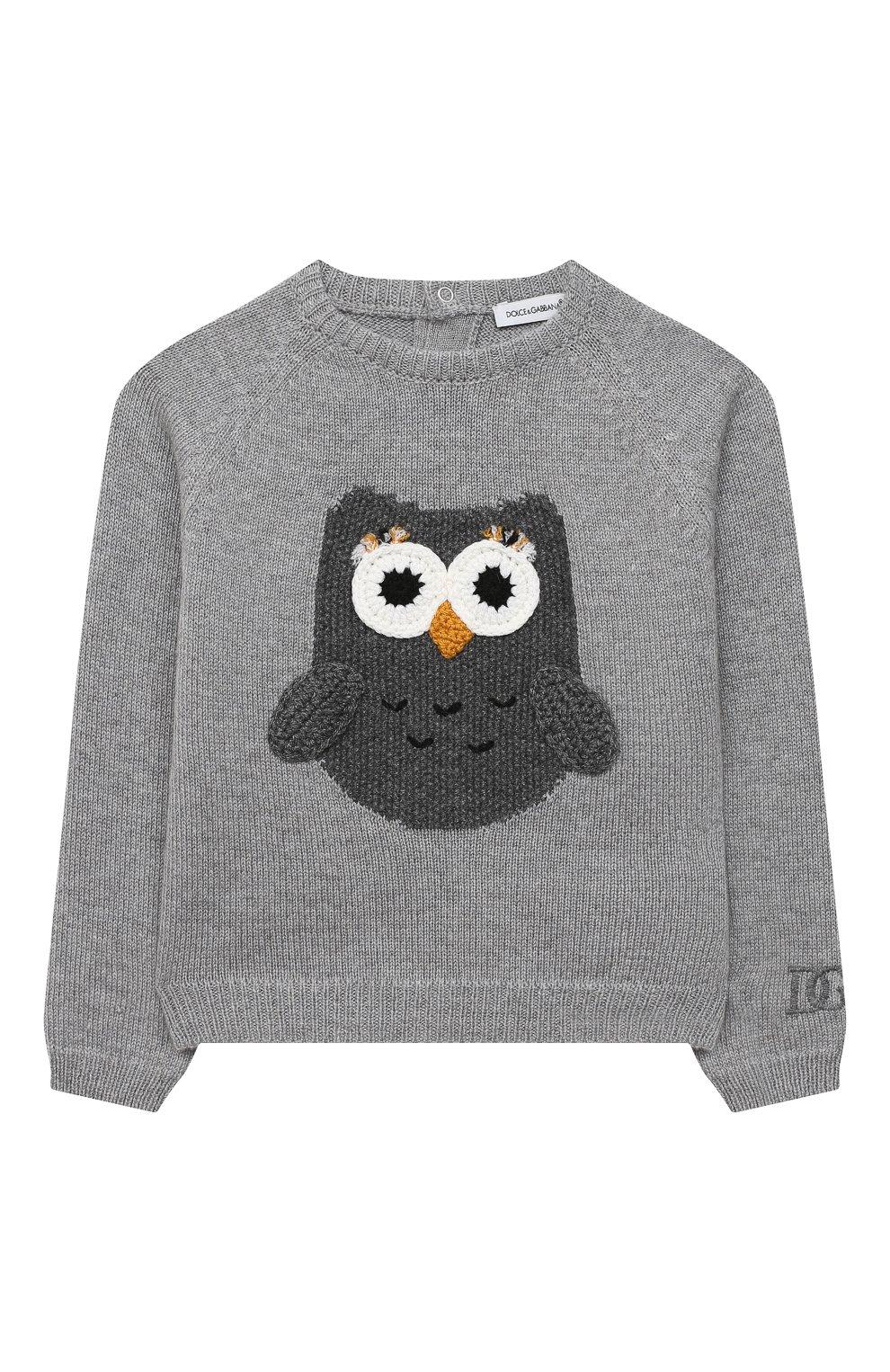 Детский кашемировый пуловер DOLCE & GABBANA серого цвета, арт. L2KWC0/JAW6B | Фото 1