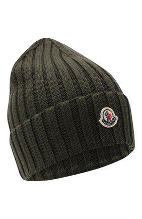 Женская шерстяная шапка MONCLER хаки цвета, арт. F2-093-9Z708-00-A9327 | Фото 1