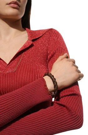 Женский кожаный браслет BOTTEGA VENETA коричневого цвета, арт. 636836/VAHUA | Фото 2