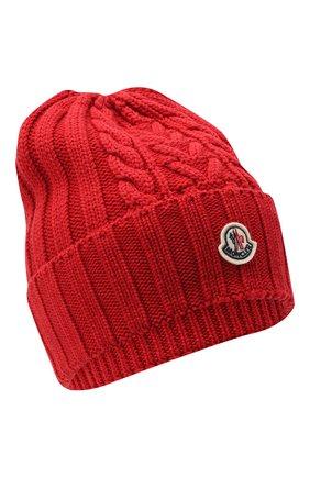 Женский шерстяная шапка MONCLER красного цвета, арт. F2-093-9Z706-00-A9146 | Фото 1