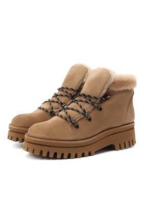 Женские замшевые ботинки PALOMA BARCELO бежевого цвета, арт. 058/1 DIEG0 SERRAJE/M0UT0N | Фото 1