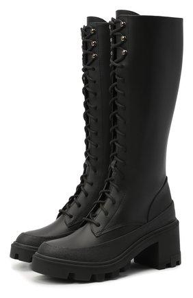 Женские кожаные сапоги c boots MONCLER черного цвета, арт. F2-09B-4G702-00-02SEP   Фото 1