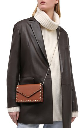 Женская сумка valentino garavani rockstud small VALENTINO коричневого цвета, арт. UW2P0Q58/VSH | Фото 2