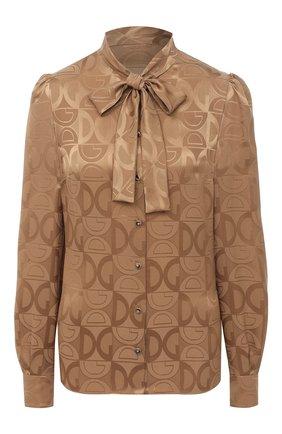Женская шелковая блузка DOLCE & GABBANA бежевого цвета, арт. F5I11T/FJ1ID   Фото 1