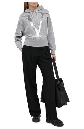 Женский хлопковое худи VALENTINO серого цвета, арт. UB3MF06U5R2 | Фото 2
