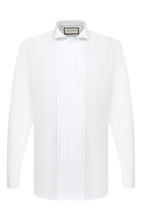 Мужская хлопковая сорочка GUCCI белого цвета, арт. 625885/Z3854 | Фото 1