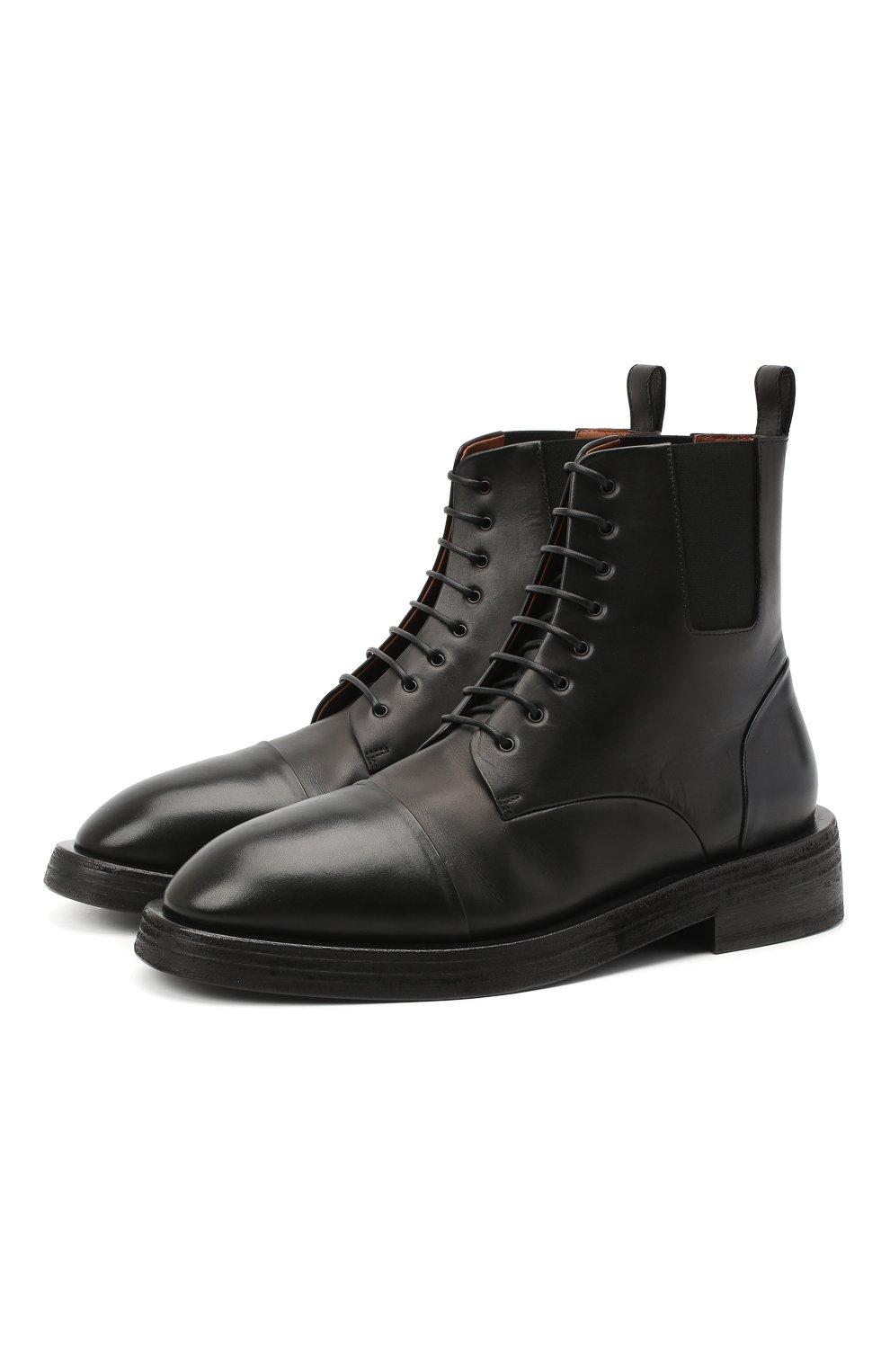 Мужские кожаные ботинки MARSELL черного цвета, арт. MM4070/PELLE VITELL0 | Фото 1 (Мужское Кросс-КТ: Ботинки-обувь; Материал внутренний: Натуральная кожа; Подошва: Плоская)