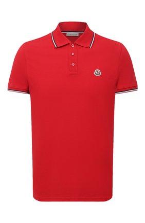 Мужское хлопковое поло MONCLER красного цвета, арт. F2-091-8A703-00-84556 | Фото 1