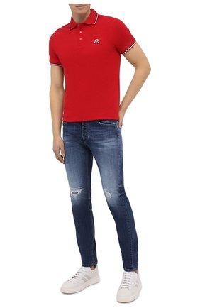 Мужское хлопковое поло MONCLER красного цвета, арт. F2-091-8A703-00-84556 | Фото 2
