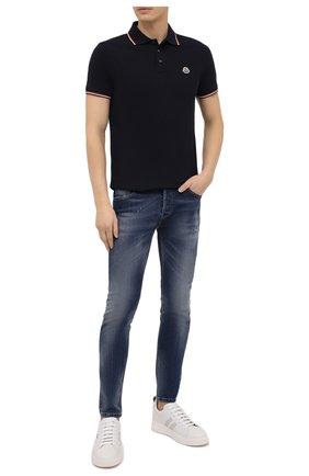 Мужское хлопковое поло MONCLER темно-синего цвета, арт. F2-091-8A703-00-84556 | Фото 2