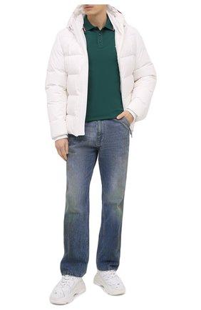 Мужское хлопковое поло MONCLER бирюзового цвета, арт. F2-091-8A703-00-84556 | Фото 2