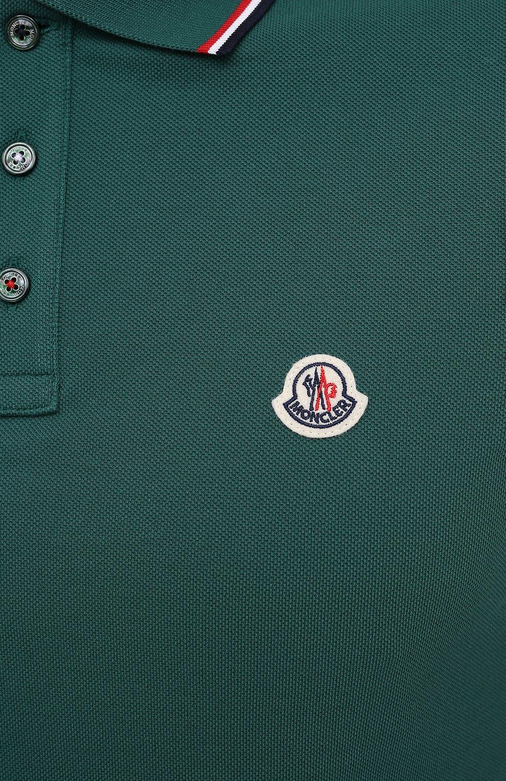 Мужское хлопковое поло MONCLER бирюзового цвета, арт. F2-091-8A703-00-84556   Фото 5 (Застежка: Пуговицы; Рукава: Короткие; Длина (для топов): Стандартные; Материал внешний: Хлопок; Стили: Спорт-шик)