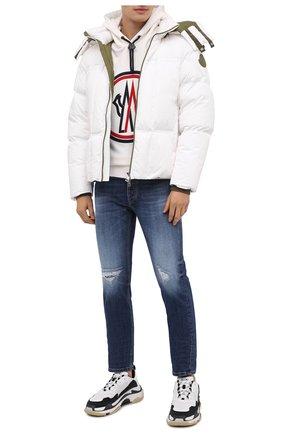 Мужской хлопковое худи MONCLER белого цвета, арт. F2-091-8G746-10-80985 | Фото 2 (Рукава: Длинные; Материал внешний: Хлопок; Длина (для топов): Стандартные; Мужское Кросс-КТ: Худи-одежда; Принт: С принтом; Стили: Спорт-шик)