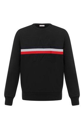 Мужской хлопковый свитшот MONCLER черного цвета, арт. F2-091-8G747-20-80985 | Фото 1 (Материал внешний: Хлопок; Длина (для топов): Стандартные; Рукава: Длинные; Принт: С принтом; Мужское Кросс-КТ: свитшот-одежда; Стили: Кэжуэл)