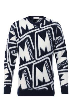 Мужской шерстяной свитер MONCLER синего цвета, арт. F2-091-9C738-50-A9379 | Фото 1