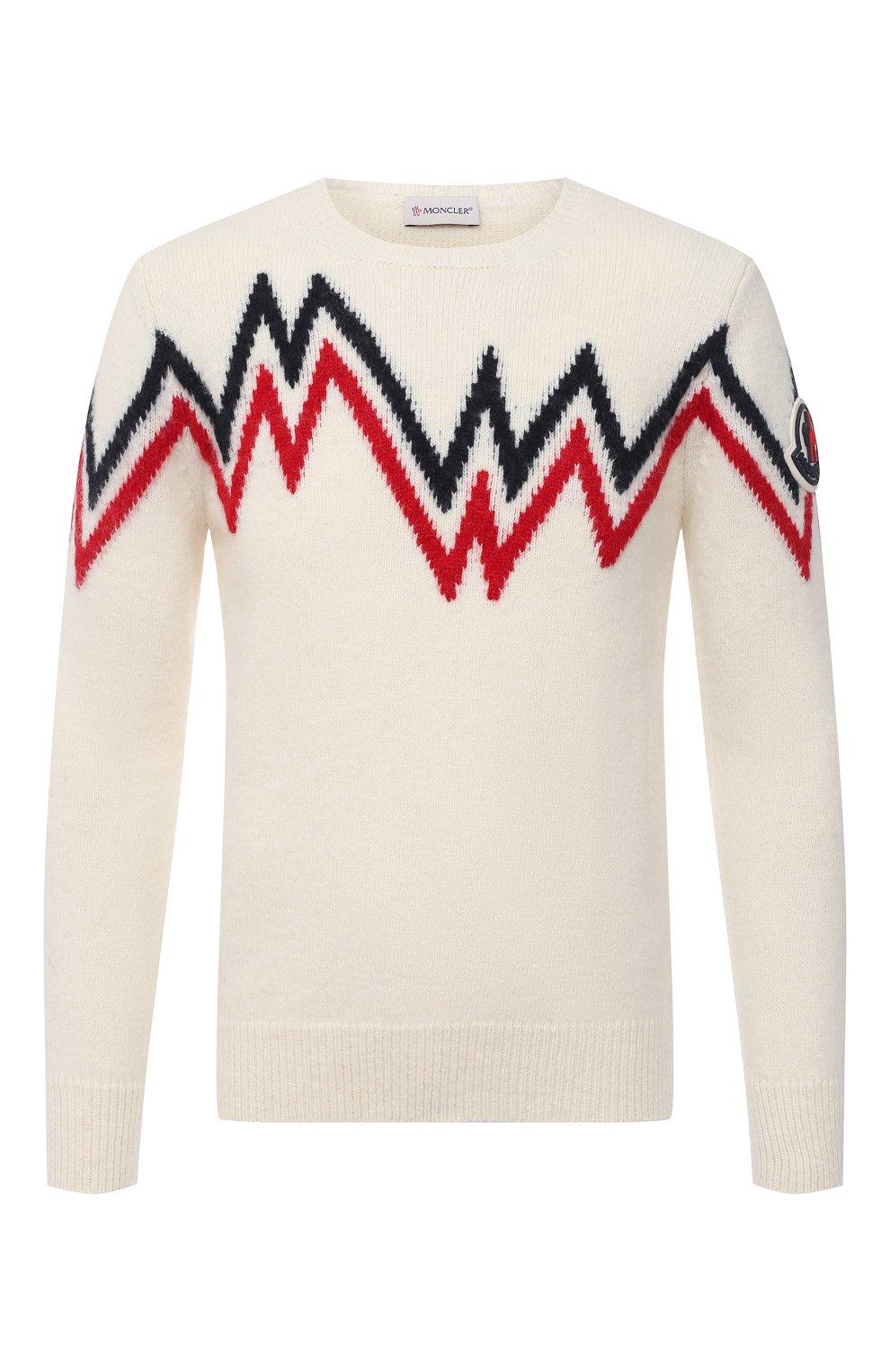 Мужской свитер MONCLER белого цвета, арт. F2-091-9C750-00-A9498   Фото 1