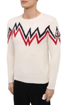 Мужской свитер MONCLER белого цвета, арт. F2-091-9C750-00-A9498   Фото 3