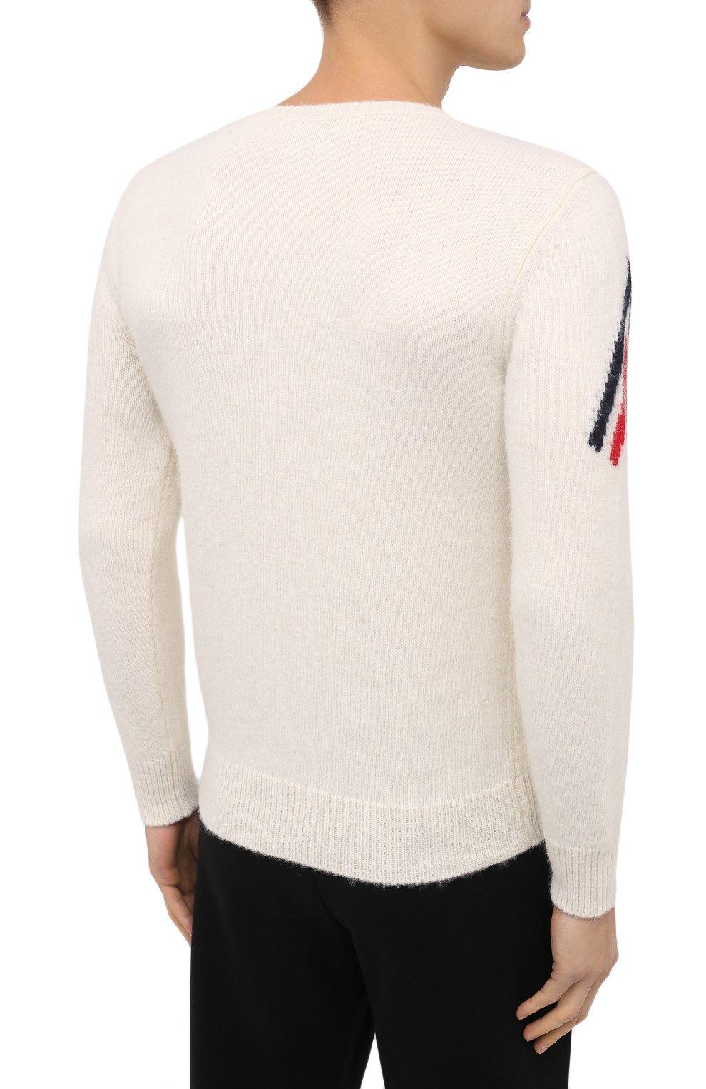 Мужской свитер MONCLER белого цвета, арт. F2-091-9C750-00-A9498   Фото 4