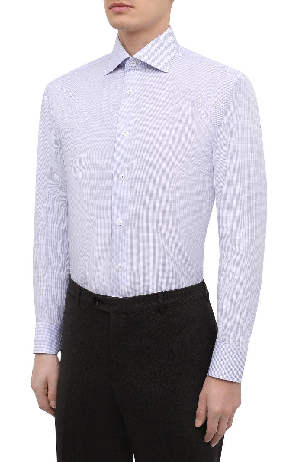 Мужская хлопковая сорочка BRIONI голубого цвета, арт. RCA10M/P90B7   Фото 3