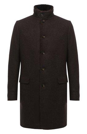 Мужской кашемировое пальто с меховой подкладкой LORO PIANA коричневого цвета, арт. FAF4118   Фото 1 (Материал внешний: Кашемир, Шерсть; Длина (верхняя одежда): До середины бедра; Материал утеплителя: Натуральный мех; Рукава: Длинные; Мужское Кросс-КТ: Верхняя одежда, пальто-верхняя одежда; Стили: Классический)