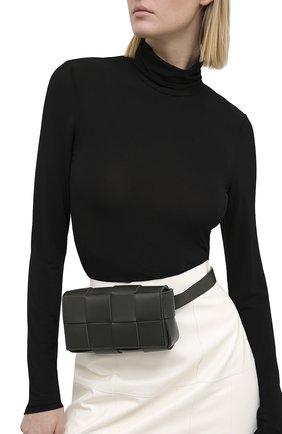 Женская поясная сумка cassette BOTTEGA VENETA темно-зеленого цвета, арт. 639367/VMAY1   Фото 2