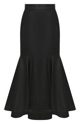 Женская кожаная юбка LOEWE черного цвета, арт. S540344X98 | Фото 1