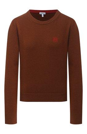 Женский шерстяной пуловер LOEWE коричневого цвета, арт. S540Y14K20 | Фото 1