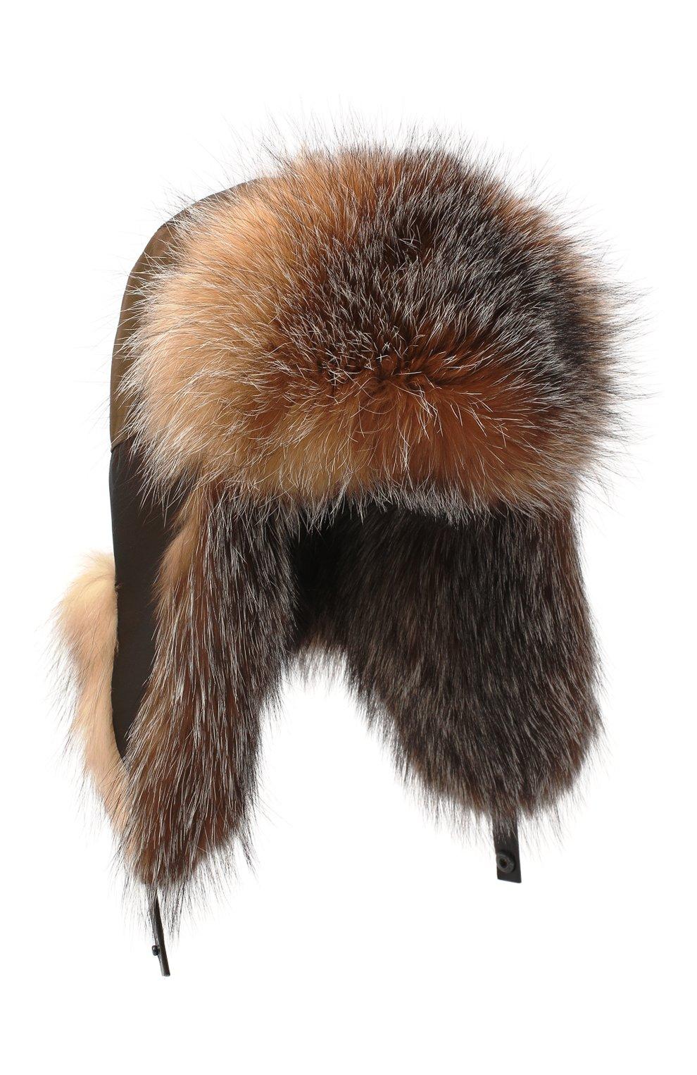 Мужская шапка-ушанка из меха лисы KUSSENKOVV коричневого цвета, арт. 339005603159   Фото 1