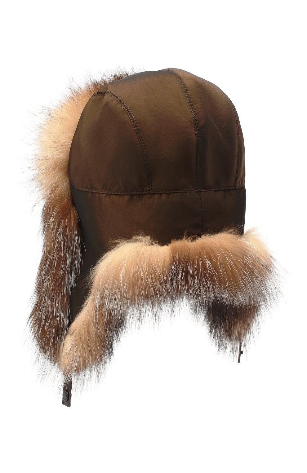 Мужская шапка-ушанка из меха лисы KUSSENKOVV коричневого цвета, арт. 339005603159   Фото 2