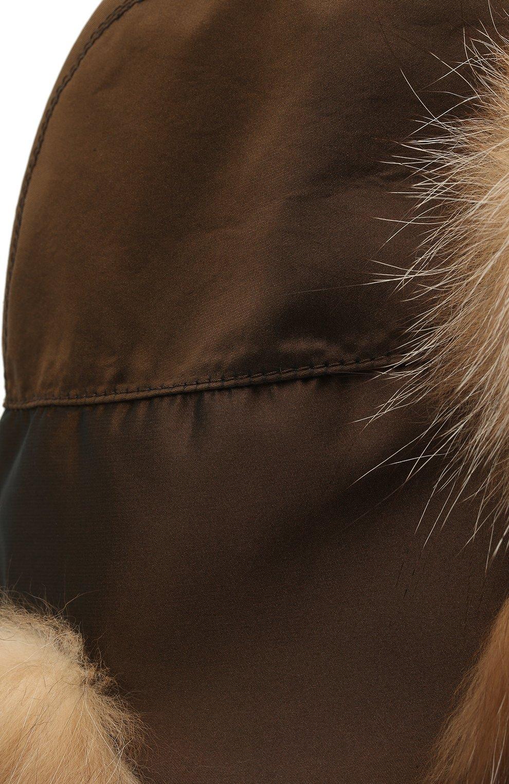 Мужская шапка-ушанка из меха лисы KUSSENKOVV коричневого цвета, арт. 339005603159   Фото 3