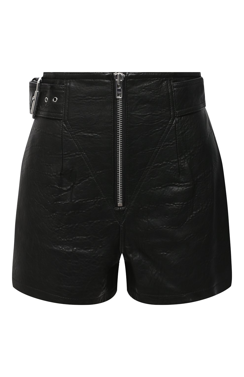 Женские кожаные шорты GRLFRND черного цвета, арт. GRF6 -S20   Фото 1 (Женское Кросс-КТ: Шорты-одежда; Длина Ж (юбки, платья, шорты): Мини; Материал внешний: Кожа; Материал подклада: Синтетический материал)