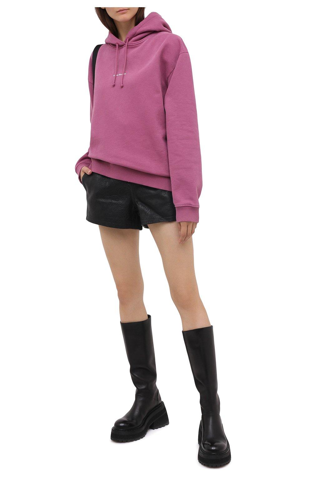 Женские кожаные шорты GRLFRND черного цвета, арт. GRF6 -S20   Фото 2 (Женское Кросс-КТ: Шорты-одежда; Длина Ж (юбки, платья, шорты): Мини; Материал внешний: Кожа; Материал подклада: Синтетический материал)