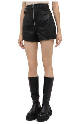 Женские кожаные шорты GRLFRND черного цвета, арт. GRF6 -S20   Фото 3 (Женское Кросс-КТ: Шорты-одежда; Длина Ж (юбки, платья, шорты): Мини; Материал внешний: Кожа; Материал подклада: Синтетический материал)