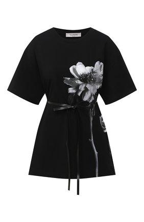 Женская хлопковая футболка VALENTINO черно-белого цвета, арт. UB0MG09R5YH | Фото 1