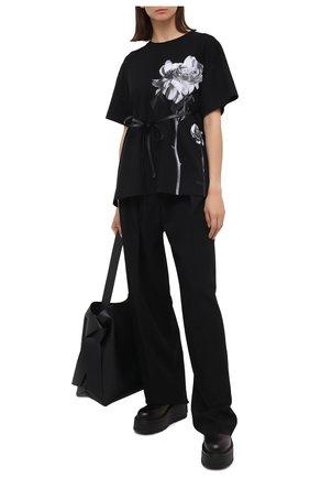 Женская хлопковая футболка VALENTINO черно-белого цвета, арт. UB0MG09R5YH | Фото 2