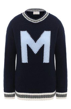 Женский шерстяной свитер MONCLER синего цвета, арт. F2-093-9C756-00-A9563 | Фото 1