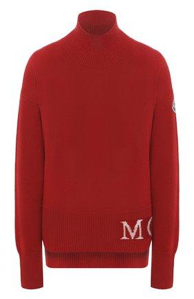 Женский свитер из шерсти и кашемира MONCLER красного цвета, арт. F2-093-9F717-00-A9564   Фото 1