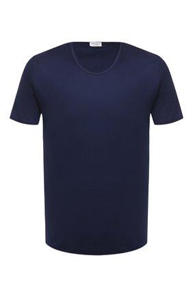 Мужские хлопковая футболка  ZIMMERLI темно-синего цвета, арт. 286-1441   Фото 1