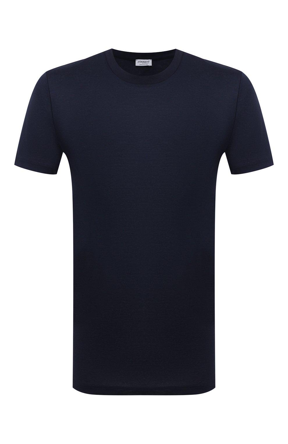 Мужская хлопковая футболка ZIMMERLI темно-синего цвета, арт. 222-1473 | Фото 1 (Кросс-КТ: домашняя одежда; Рукава: Короткие; Длина (для топов): Стандартные; Материал внешний: Хлопок; Мужское Кросс-КТ: Футболка-белье)