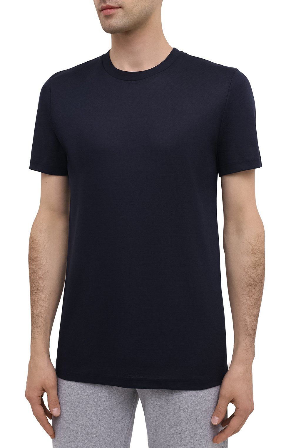 Мужская хлопковая футболка ZIMMERLI темно-синего цвета, арт. 222-1473 | Фото 3 (Кросс-КТ: домашняя одежда; Рукава: Короткие; Длина (для топов): Стандартные; Материал внешний: Хлопок; Мужское Кросс-КТ: Футболка-белье)