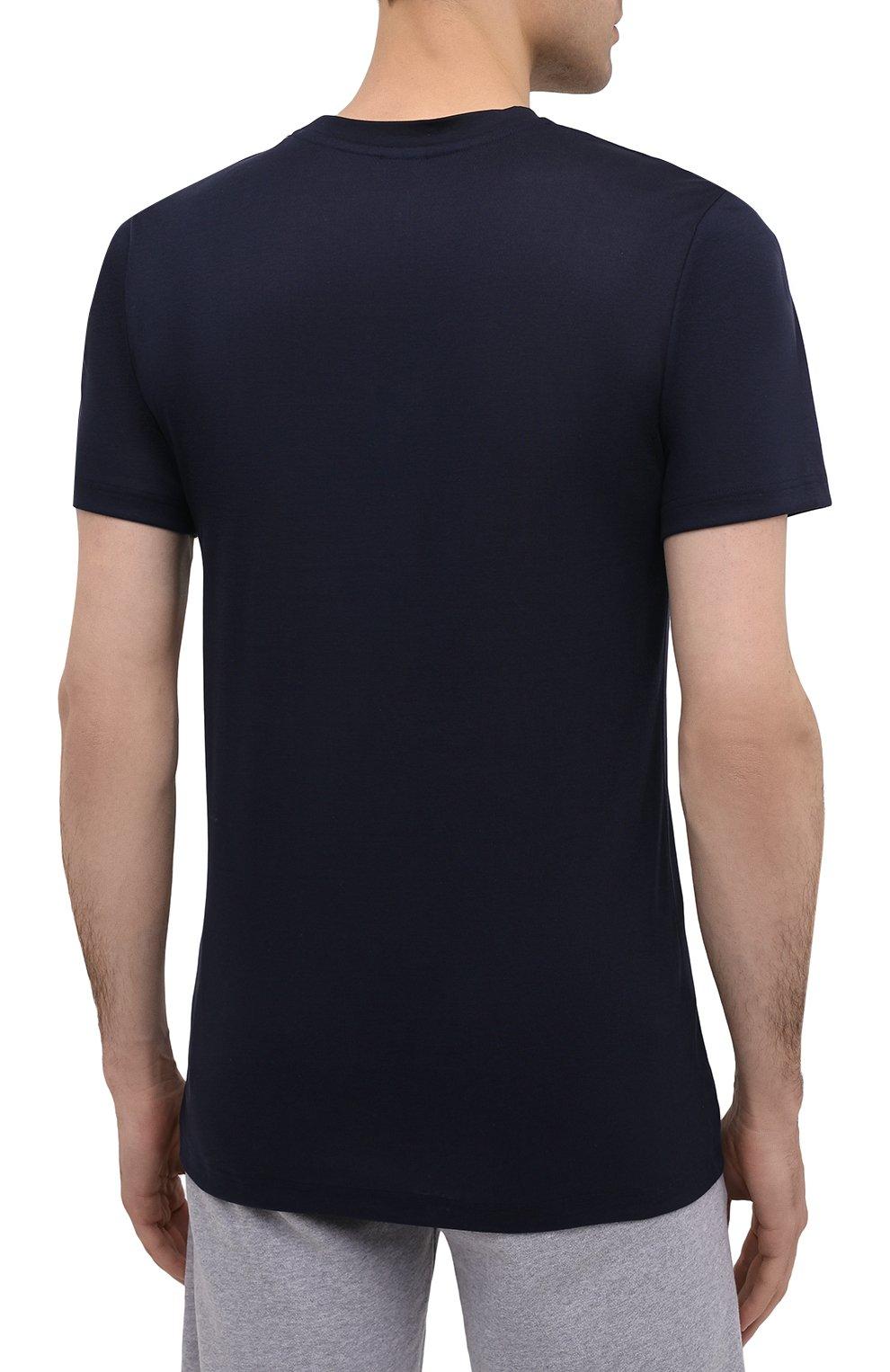 Мужская хлопковая футболка ZIMMERLI темно-синего цвета, арт. 222-1473 | Фото 4 (Кросс-КТ: домашняя одежда; Рукава: Короткие; Длина (для топов): Стандартные; Материал внешний: Хлопок; Мужское Кросс-КТ: Футболка-белье)
